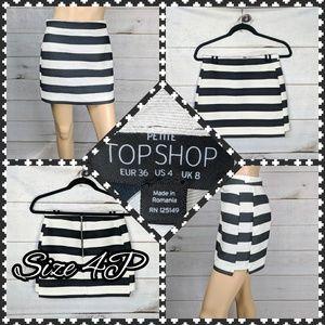 Topshop Black & White Striped Mini Pencil Skirt